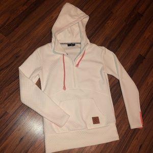 White & coral half zip